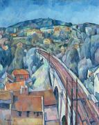 Fauvism Art - The Railway Bridge at Meulen by Walter Rosam