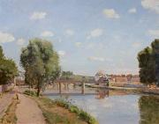 Calm Waters Posters - The Railway Bridge Poster by Camille Pissarro