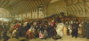 Oil Lamp Framed Prints - The Railway Station Framed Print by William Powell Frith