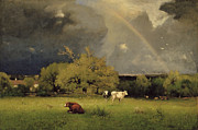 Bulls Metal Prints - The Rainbow Metal Print by George Inness Senior