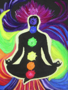 Yoga Pose Paintings - The Rainbow Within by Antje Schroeter