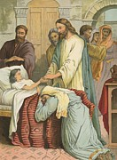 Bible Painting Prints - The Raising of Jairus Daughter Print by English School