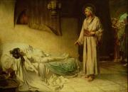 Bedclothes Paintings - The Raising of Jairuss Daughter by George Percy Jacomb-Hood