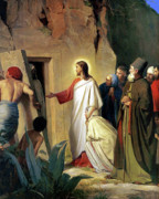 Lazarus Framed Prints - The Raising of Lazarus Framed Print by Carl Bloch