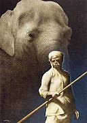 Elephant Painting Prints - The Raja of Rangoon... Print by Will Bullas