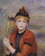 Youthful Framed Prints - The Rambler Framed Print by Pierre Auguste Renoir
