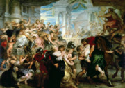 Roman Columns Painting Prints - The Rape of the Sabine Women Print by Peter Paul Rubens 