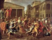 Poussin Posters - The Rape of the Sabines Poster by Nicolas Poussin