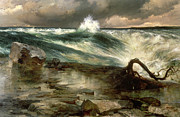 State Paintings - The Rapids Above Niagara by Thomas Moran