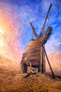 Wooden Ship Painting Prints - The Ravages of Time Print by Dominic Piperata