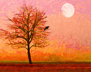 Landscape Digital Art Metal Prints - The Raven and The Moon Metal Print by Wingsdomain Art and Photography