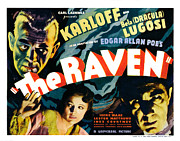 Horror Movies Prints - The Raven, From Left Boris Karloff Print by Everett