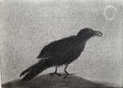Edgar Drawings - The Raven by Keith Straley