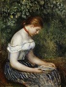 Book Reading Framed Prints - The Reader A Seated Young Girl  Framed Print by Pierre Auguste Renoir