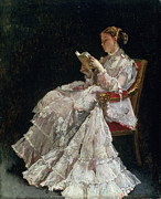 Full-length Portrait Prints - The Reader Print by Alfred Emile Stevens