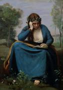With Blue Paintings - The Reader Crowned with Flowers by Jean Baptiste Camille Corot