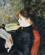Dark Red Paintings - The Reader by Pierre Auguste Renoir