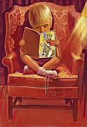 Children Pastels Framed Prints - The Reader Framed Print by Valerian Ruppert