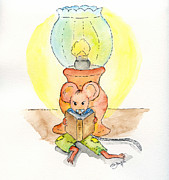 Mice Drawings Posters - The reading Mouse Poster by Eva Ason