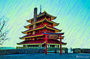 Berks Posters - The Reading Pagoda Poster by Bill Cannon