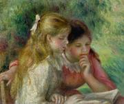 Renoir Painting Framed Prints - The Reading Framed Print by Pierre Auguste Renoir