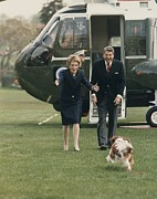 First Ladies Framed Prints - The Reagans Being Greeted By Their Dog Framed Print by Everett