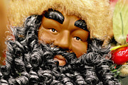 Greetings Prints - The Real Black Santa Print by Christine Till