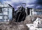 Tombs Digital Art - The Reaper Haunts The Old Cemetery by James Griffin