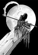 Gloomy Drawings Prints - The reaper Print by Michael Brack