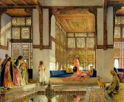 Odalisque Painting Framed Prints - The Reception Framed Print by John Frederick Lewis