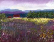 Field Pastels Prints - The Red Barn Print by David Patterson
