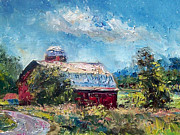 New York State Painting Originals - The Red Barn by Mark Hartung