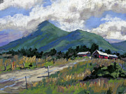 Foothills Pastels - The red barn by Patricia Rose Ford