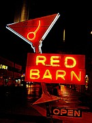 Electric Signs Posters - The Red Barn Poster by Randall Weidner