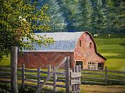 Carolina Painting Originals - The Red Barn by Shirley Braithwaite Hunt