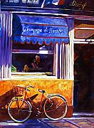 Bistro Posters - The Red Bicycle Poster by David Lloyd Glover