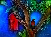 Bird House Prints - The Red Birdhouse Print by Arline Wagner