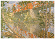 Metal Bridge Posters - The Red Bridge Poster by Julian Alden Weir