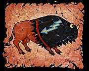 Buffalo Mixed Media Framed Prints - The Red  Buffalo fresco Framed Print by OLena Art