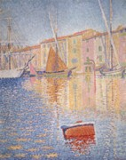 Quay Painting Prints - The Red Buoy Print by Paul Signac