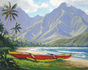 Tropical Trees Paintings - The Red Canoe by Jenifer Prince