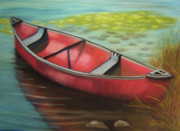 Canoe Pastels Metal Prints - The Red Canoe Metal Print by Marcia  Hero
