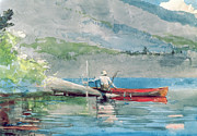 Watercolor Landscapes Posters - The Red Canoe Poster by Winslow Homer