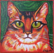 Anni Morris Art - The Red Cat by Anni Morris