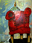 Enjoyment Painting Framed Prints - The Red Chair Of Reading Framed Print by Charlie Spear
