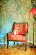 Wooden Floor Posters - The Red Chair Poster by Paul Ward