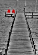Beach Scene Photos - The Red Chairs by Emily Stauring
