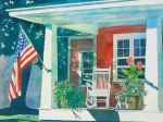 Flag Paintings - The Red Cottage by LeAnne Sowa