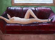 Nude Painting Framed Prints - The Red Couch Framed Print by Bill Brauker