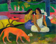 1892 Framed Prints - The Red Dog Framed Print by Paul Gauguin
